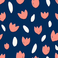 Simple Tulip Shapes Seamless Pattern