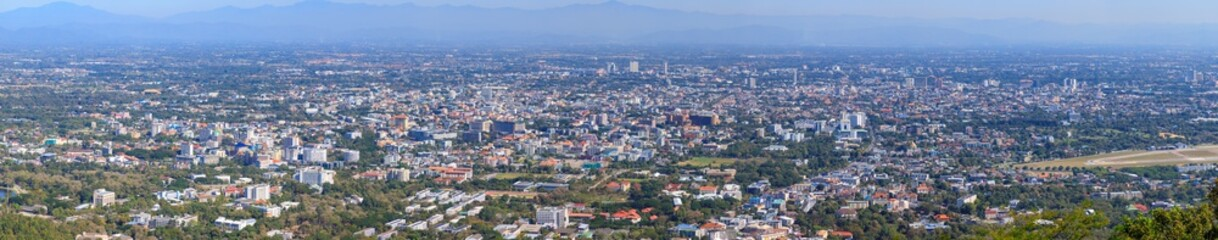 Fotobehang Antwerpen Panorama aerial view of Chiang Mai city from Doi Suthep