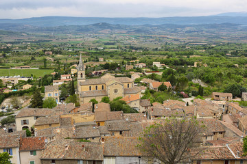 View on rooftops and Luberon valley in Bonnieux, Provence France