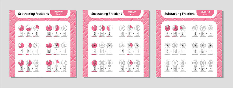 Subtracting Fractions Mathematical Worksheet Set. Coloring Book Page. Math Puzzle. Educational Game. Vector illustration.
