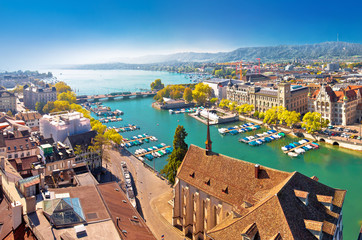 Zurich lake and Limmat river waterfront aerial panoramic view Fototapete