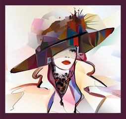 Poster Art Studio Woman with hat on colorful background