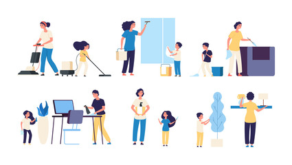 Kids parents cleaning. Mother father children cleaners housework vacuuming sweep household equipment vector cartoon characters. Family do housework, parents cleaning illustration