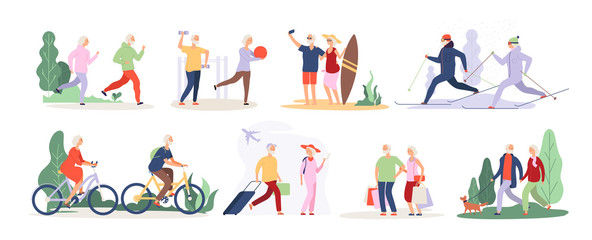 Elderly characters. Grandfather grandmother couple sport tourist tandem cute old granny elderly people outdoor vector isolated set. Illustration of grandfather and grandmother do sport activity