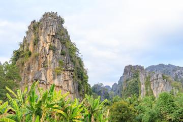Fotobehang Zalm Beautiful limestome mountain range at Ban Mung Village, Noen Maprang District, Phitsanulok, Thailand