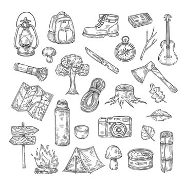 Doodle camping. Hiking camp natural wood scout outdoor summer adventure sketch outline vector icons. Illustration of sketch hiking tourism, travel expedition elements
