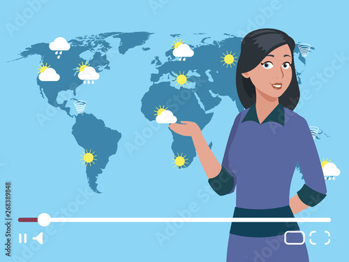 Woman anchorman weather channel vector illustration  Worldwide