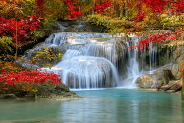 Erawan Waterfall tier 1, in National Park at Kanchanaburi, Thailand