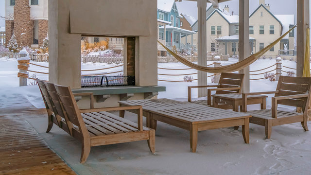 Panorama Clubhouse patio with view of a snowy landscape