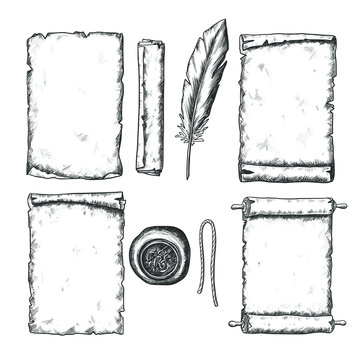 Hand drawn old paper with scroll and feather set, black and white draft sketch isolated on white background. Vintage vector illustration.