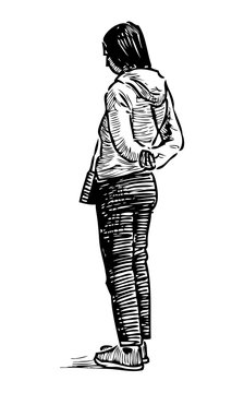 Sketch of a casual standing townswoman