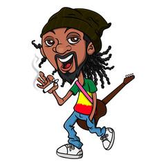 Reggae Guy walk and smoke cannabis, hang a classic Guitars on shoulder and wearing Rastafarian Flag Colored T-shirt Cartoon Vector