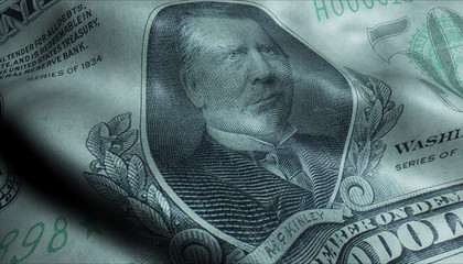 US President William Mckinley, Crumpled Five Hundred Dollar Bill Obverse