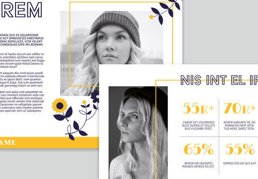 Blog Media Kit Layout with Illustrative Floral Elements and Yellow Accents
