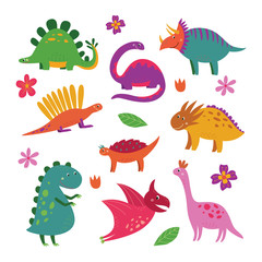Set of cute cartoon dinosaurs, funny smiling dino collection for children