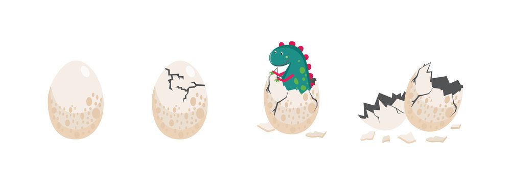 Cute dinosaur hatching from an egg vector illustration isolated on background.