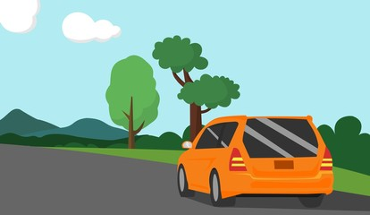 car vector illustration with mountain view