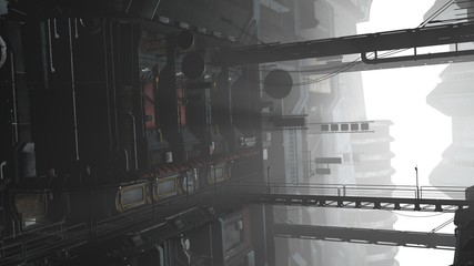 Fotomurales - 3D illustration of a futuristic cityscape in cyberpunk style. Industrial landscape in a white haze.