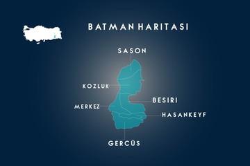 Batman districts Sason, Kozluk, Besiri, Hasankeyf, Gercus map, Turkey
