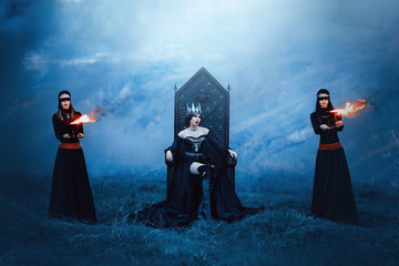majestic priestess in long black dress with bare shoulders, witch raven and two mysterious guards with hidden faces, powerful devil with metal cold crown on head, mistress and fire goddess