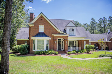 Large Red Brick Traditional Colonial Home House on a large Wooded lot in the south