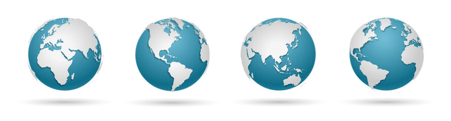 Globe Icon Set - Round World Map Vector Flat Wall mural