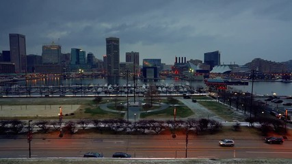 Fototapete - View on Baltimore skyline and Inner Harbor at dusk, Baltimore, Maryland