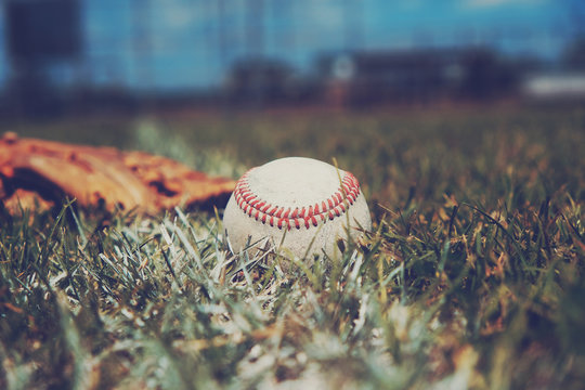 Old used baseball in grass field shows ball closeup for sport background.