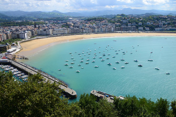 San Sebastian seen from Monte Urgull, Spain, Europe