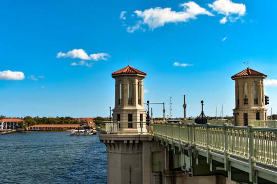 St. Augustine, Florida. January 26 , 2019. Bridge of Lions at Old Town on beautiful sky background in Florida's Historic Coast (1)