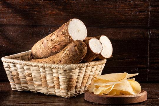 Cassava fried - Manihot esculenta. Top view