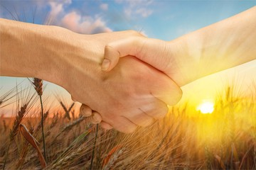 Men hands on sunset background