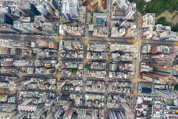 Fototapete - Top view of Hong Kong downtown city in Kowloon side