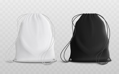 Set of blank drawstring bags mockup 3d realistic vector illustration.