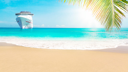 Cruise ship close to sunny Caribbean beach with palm trees