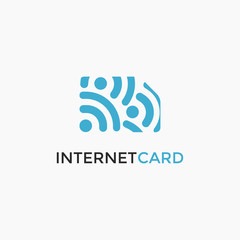Internet signal and simcard logo icon