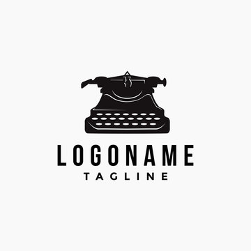 Vintage Old typewriter logo icon vector template on white background
