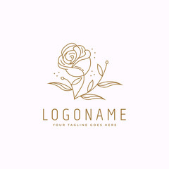 Nature logo of rose design inspiration, with line art style drawing