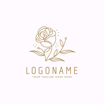 Nature logo of rose logo icon vector template on white background, with line art style drawing