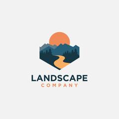 mountain and river Landscape logo icon