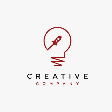 Creative minimalist light bulb and rocket logo icon vector template on white background