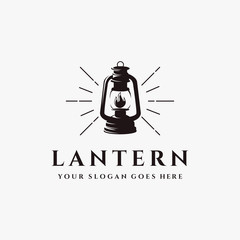 vintage shinning lantern logo icon vector template on white background, lead the way logo design