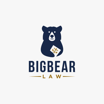 Big bear holding law book logo icon vector template on white background
