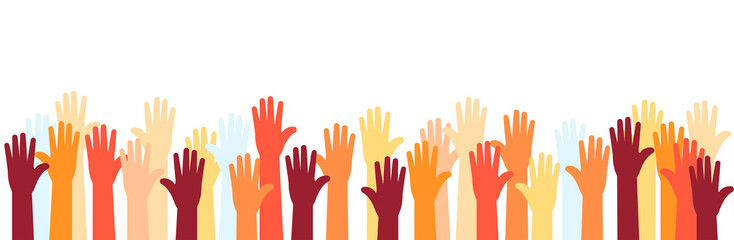 Raised hands of volunteer group, colorful banner