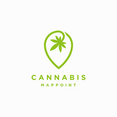 Cannabis map point locator logo icon inspiration