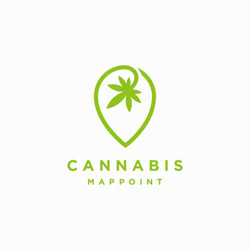 Cannabis map point locator logo icon vector template on white background