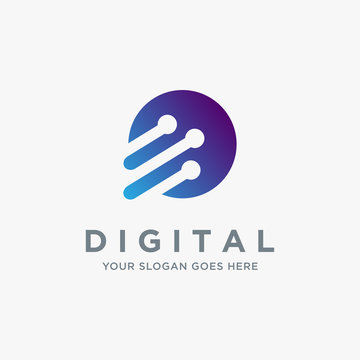Abstract digital techie logo icon vector template on white background
