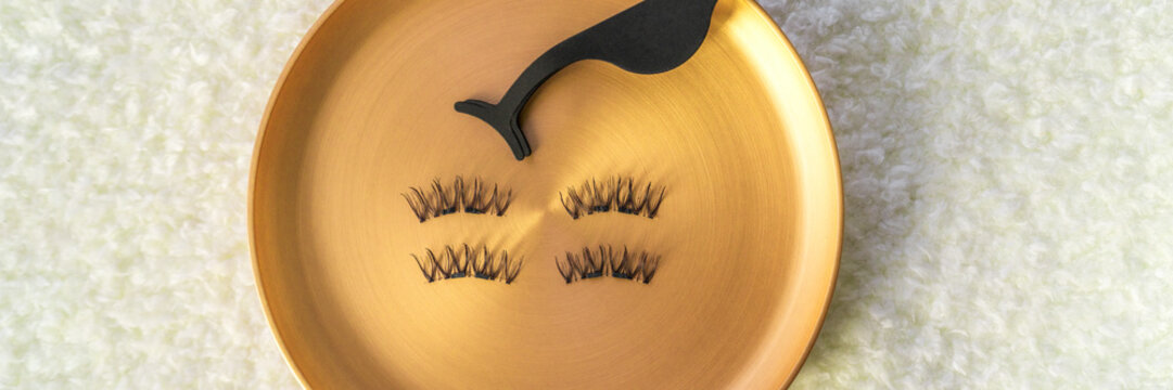 Beauty makeup banner fake eyelashes and magnetic stainless steel applicator for latest trend in false lashes.