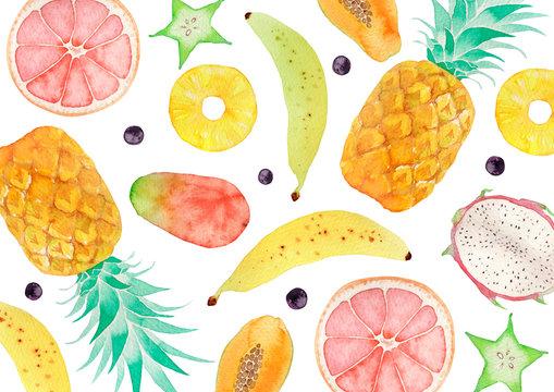 夏 背景 テキスタイル トロピカルフルーツ 水彩 イラスト