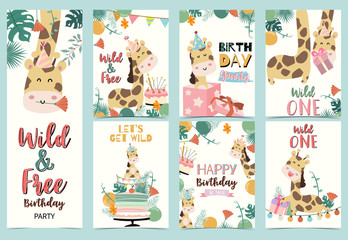 Green birthday card with giraffe sitting and standing,cake,palm,light and balloon